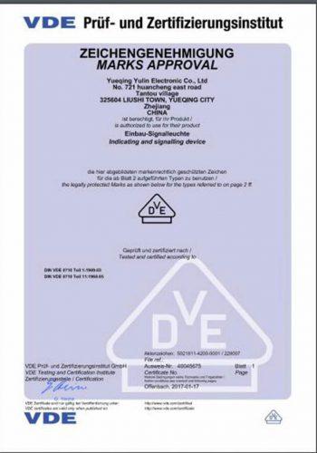 Indicator-Light-VDE-certificate