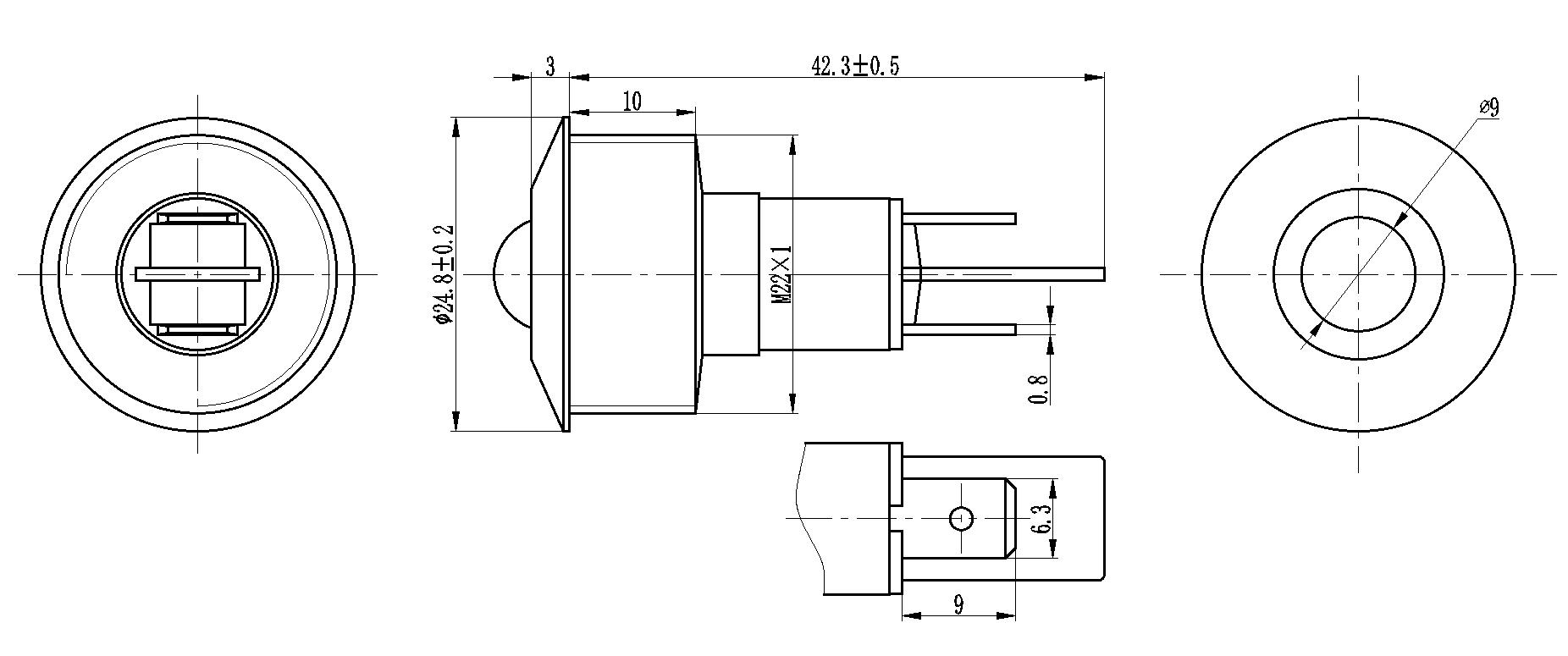 22mm 110v power box metal indicator light