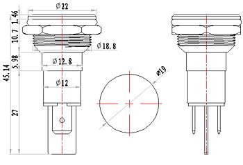 16MM 220V FALT head IP67 metal indicator light