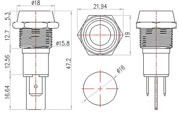 16MM 12v red led ip67 metal signal indicator light