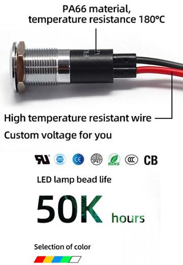 12MM 12V Metal Red LED Indicator Light