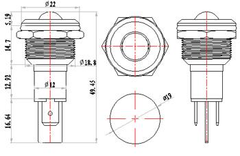 19mm 220v metal indicator light