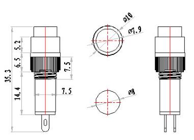 8mm 5/16″ 24v red led automation equipment indicator light