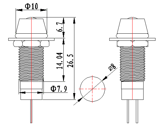 110v green ip67 socket head 8mm led indicator light -FL1M-8CJ-3