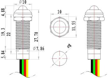 8mm Red Green Two Color Waterproof Metal Indicator Light Lamp