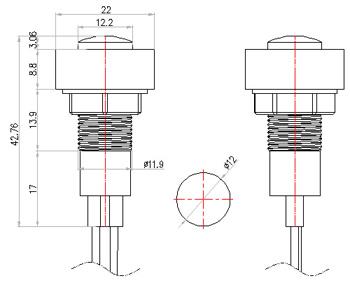 12.5mm 24v led plastic indicator light