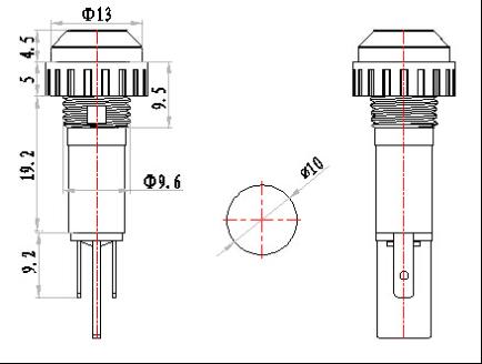 10mm 6v led Cable reel plastic indicator light