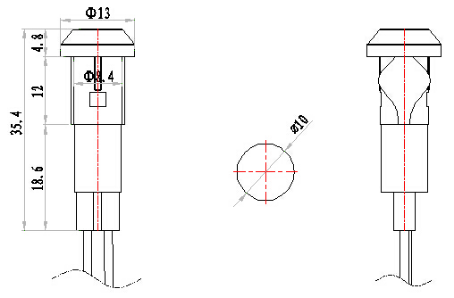 10mm 220v coffee machine plastic indicator light lamp