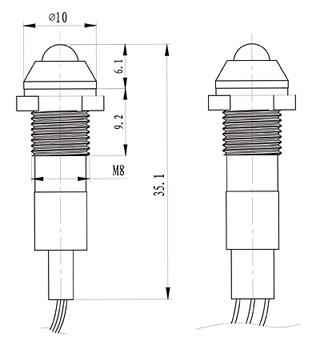 8mm LED Metal 110V Yellow Indicator Light