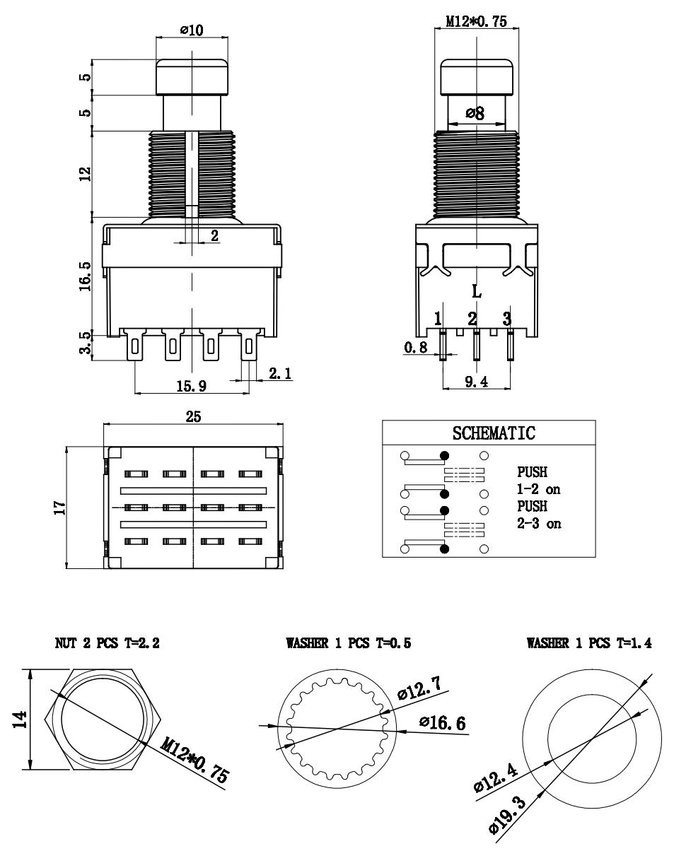 Guitar Effects 4PDT True Bypass 12Pins Wireless Solder Terminal Foot Switch