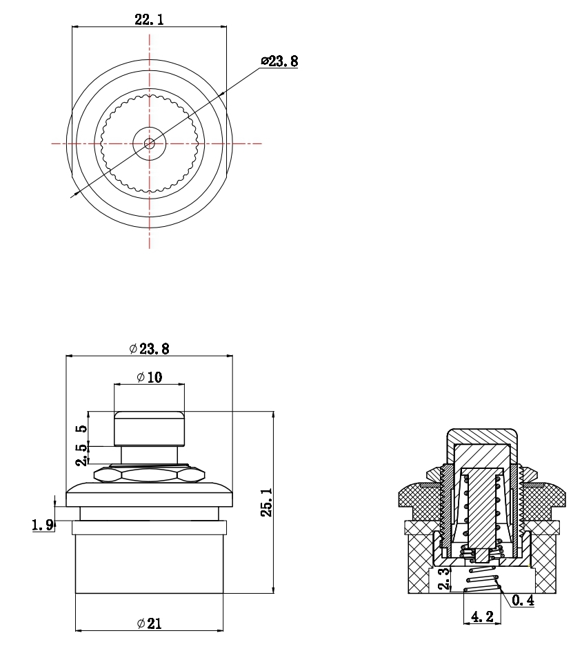 Push Button Switch with Spring Terminal