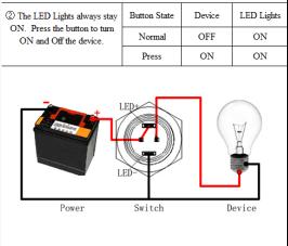 4PIN 24V Yellow Illuminated Latching Small Push Button Switch