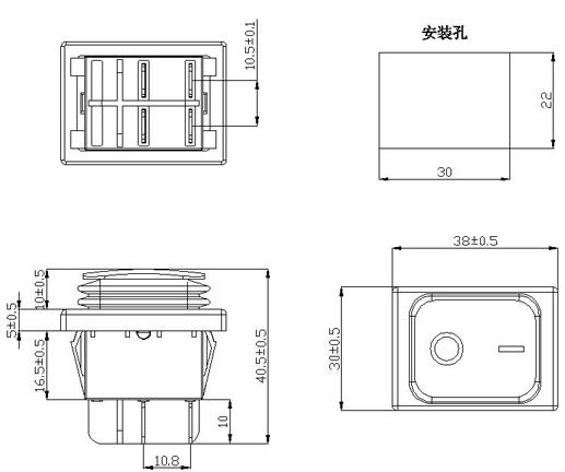 FILN 3v 12V 24V 36V 110V 220V 380V custom symbol spray lacquar ip67 rocker switch