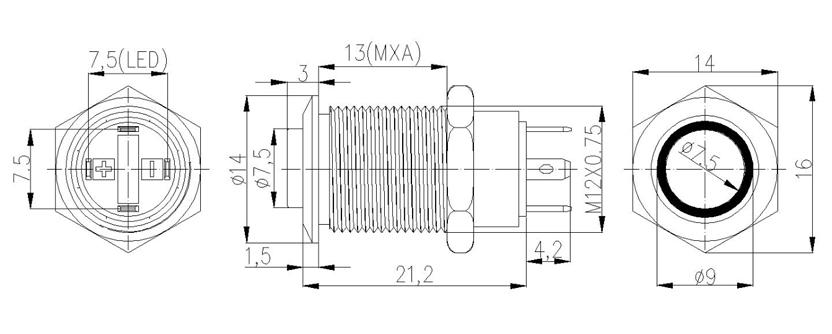 12MM 4Pins 12V Illuminated Latching Small Push Button Switch