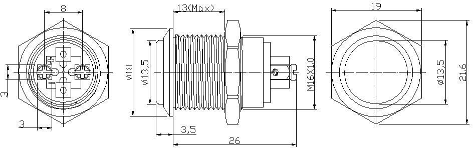 16mm latching non illuminated ip66 metal push button switch