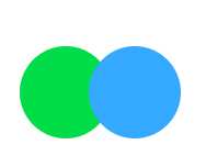 Green blue double push button switch