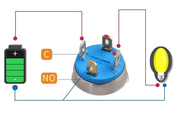 22MM 220V 10A Big Ampere LED Indicator Push Button Switch