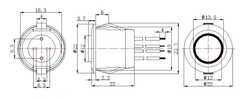 LED 230V AC push button switch