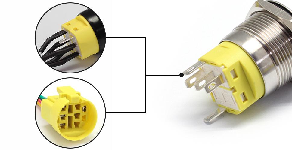 Button switch wiring method