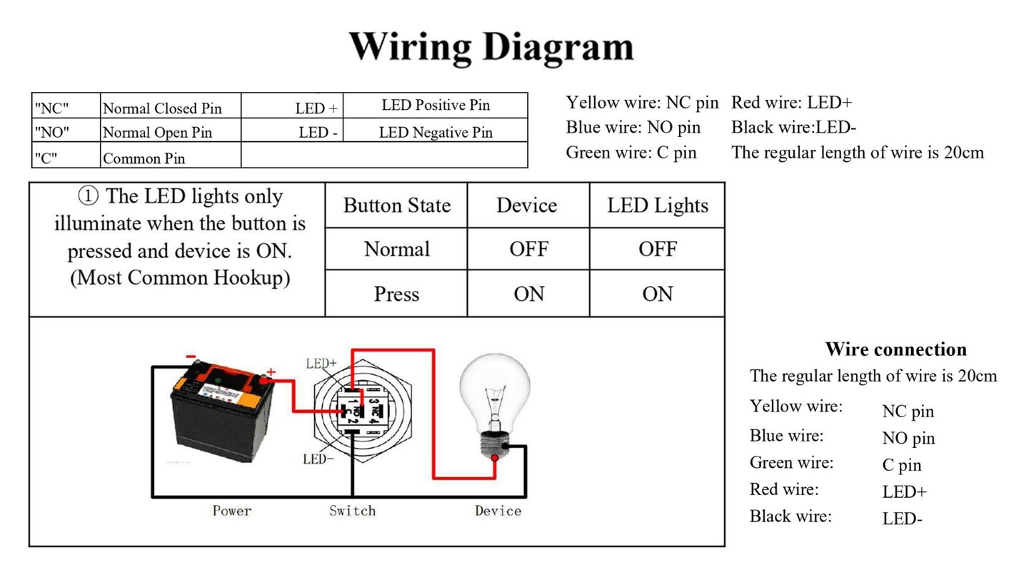 How is the push button switch wired?